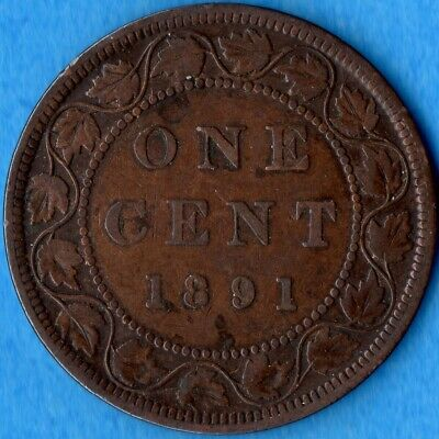 Canada 1891 SD LL 1 Cent One Large Cent Coin - Fine