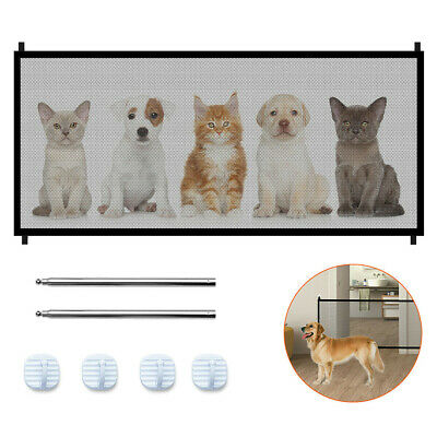 Folding Magic Mesh Pet Dog Gate Door Safe Guard Fence Net Easy Install Portable