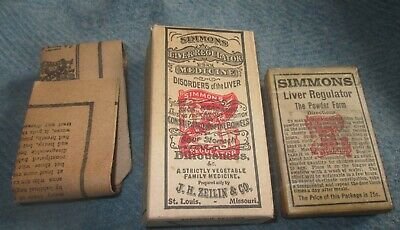 Antique Package & Box, Dr. Simmons Liver Regulator with Paper