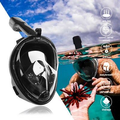 Swimming Full Face Anti-Fog Mask Surface Diving Snorkel Scuba for GoPro Phone US