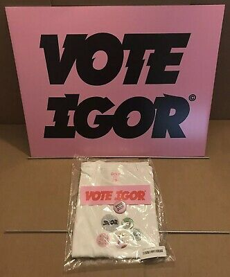Tyler, The Creator - Vote Igor Pink Sign Bundle w/Small Tee, Sticker, & Button