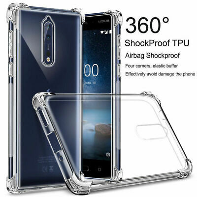 Shockproof Clear Transparent Soft TPU Case Slim Silicone Cover FIts Nokia Phones