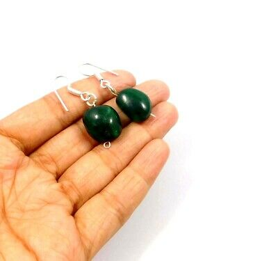 Dyed Emerald .925 Silver Plated Handmade Designer Earring Jewelry JC10015
