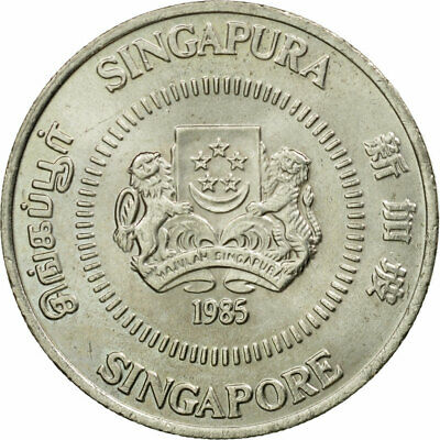 [#444596] Coin, Singapore, 50 Cents, 1985, British Royal Mint, EF(40-45)