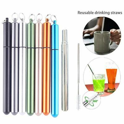 Telescopic Drinking Straw Collapsible Straw Foldable Reusable Metal Straw &Brush