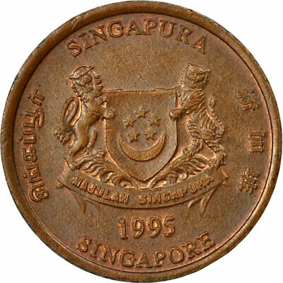 [#535506] Coin, Singapore, Cent, 1995, Singapore Mint, EF(40-45), Copper Plated