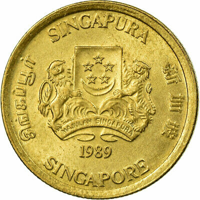[#673046] Coin, Singapore, 5 Cents, 1989, British Royal Mint, EF(40-45)