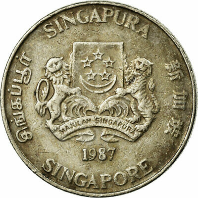 [#680964] Coin, Singapore, 20 Cents, 1987, British Royal Mint, VF(30-35)