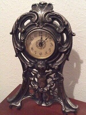 Antique 1906 Brass Cast Mantle Wind-Up Clock with Figure Pat. Oct 2 1906