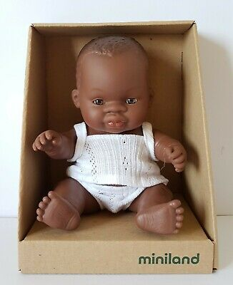 Miniland Baby Doll African Boy 21cm Vanilla Scented Anatomically Correct