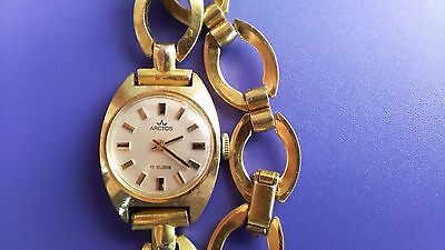 Vintage Arctos Mechanical Wristwatch For Ladies-Swiss-Goldplated Case-Working