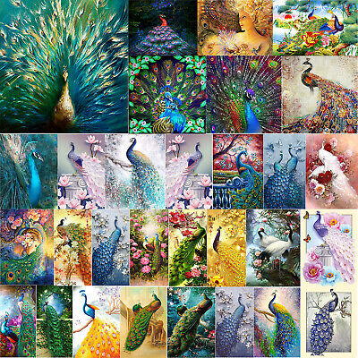 5D DIY Diamond Painting White Peacock Cross Stitch Embroidery Mosaic Craft Decor