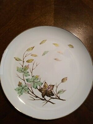 Halsey Fine China made in Japan Swirling Leaves 10 Inch Dinner Plates Lot Of 2