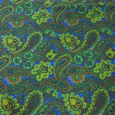 "Vtg Mid Century MOD Wool Blend Fabric Groovy Green Blue Yellow Paisley 102""x42"""