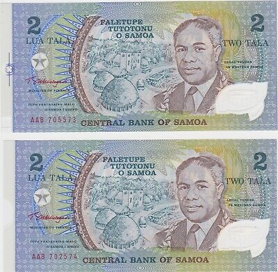 Samoa 2 Tala 1990 Commemorative Polymer Two Consecutive Notes from Uncut Sheet