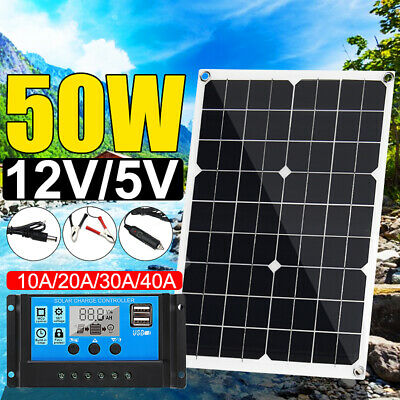 50W 12V/24V USB Solar Panel Battery Power Charger+10/20/30/40A Solar Controller