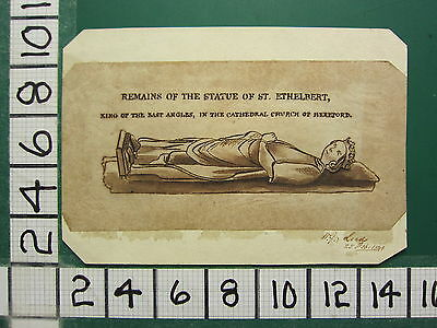 1841 Antique Print ~ Remains Of The Statue Of St Ethelbert King Of Angles