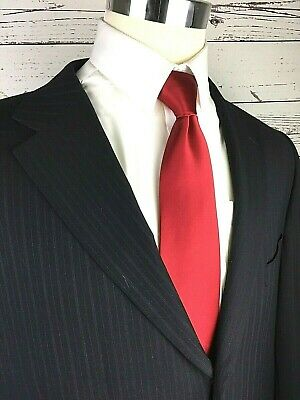 Linea Uomo Mens Navy Pinstripe 100% Wool 3-Button Italy Suit Jacket 46L #125