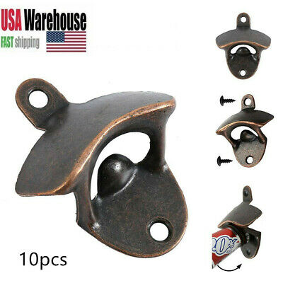 10Pcs Heavy Vintage Rustic Antique Bottle Beer Opener Cast Iron Wall Mount Bar