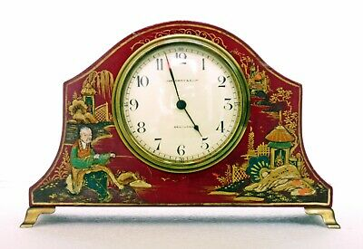 Antique French Chinoiserie Mantel Clock, Dark Red Lacquer, Working, James Hardy