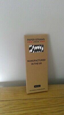 """24 Black Eco Friendly Paper Straws 8"""" Biodegradable Compostable Recyclable"""