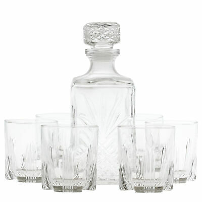 Bormioli Rocco Selecta 1 Litre Glass Whiskey Decanter with 6 Glasses Set