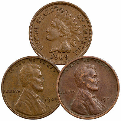 3 Piece Set 1909 Indian Head & Lincoln Cent XF Collection SKU58406