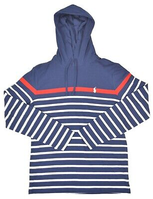 Polo Ralph Lauren Mens Cotton Striped Jersey Hooded T-Shirt, Navy MU, XL, 3455-8