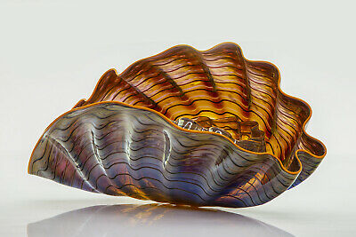 Dale Chihuly Violet Gray 2Piece Persian Set w/Indian Yellow Lip Hand blown Glass