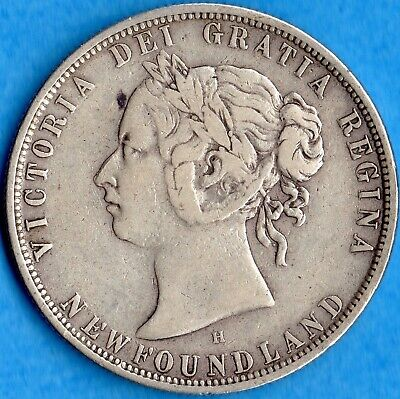 Canada Newfoundland 1876 H 50 Cents Fifty Cents Silver Coin - F/VF
