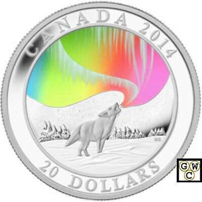 2014 'Northern Lights-Howling Wolf' Hologram Prf $20 Fine Silver Coin(13878)OOAK