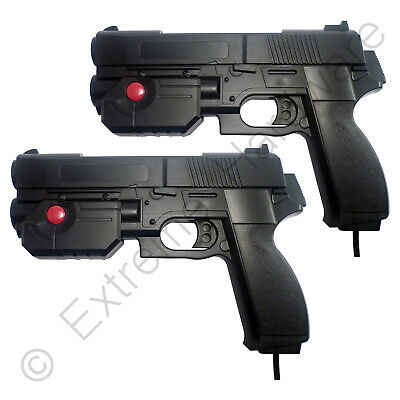 2 x Pack Ultimarc AimTrak Black Arcade Light Guns with Line of Sight Aiming LCD