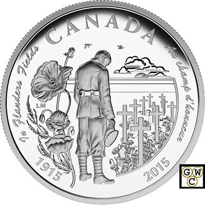 2015 '100th Ann. of In Flanders Fields' Prf $20 Fine Silver 1oz.Coin(17317) OOAK