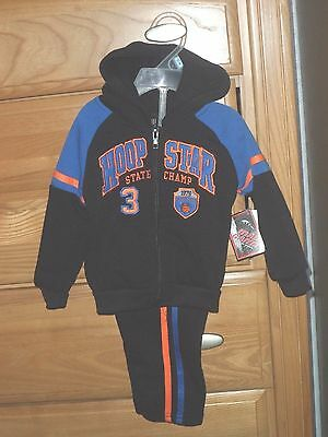 Mad Game Boys Sweatsuit Size 12Mo. 24Mo. 2T 3T Black Basketball Nwt