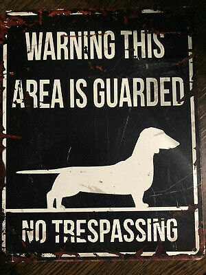 D&D Homecollection Warning Sign Dog Dachshund Dackel Warnung Schild Achtung Hund