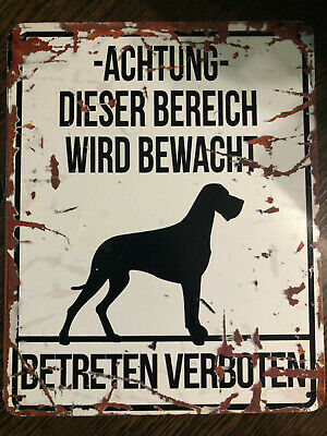 D&D Homecollection Warning Sign Dog Danish Dog Dogge Warnung Schild Achtung Hund