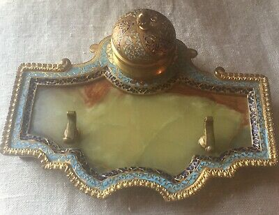 Antique Victorian French Champleve Enamel Bronze Onyx Inkwell Pen Holder Tray
