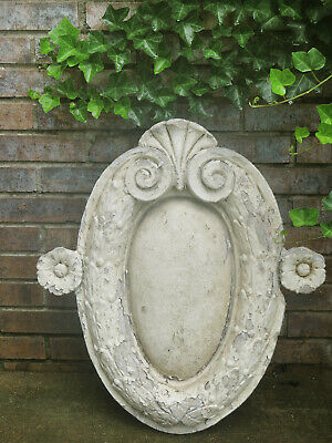 Antique Architectural Salvage OVAL Terra Cotta Concrete OOAK Ornate Shell Flower
