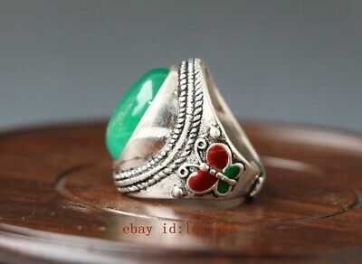 Tibet-silver OLD INLAY(green)ZIRCON WONDERFUL CLOISONNE HAND CARVED RING