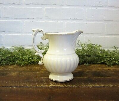 "Vintage Hand Painted Gold White Porcelain 7"" Pitcher Japan Ironstone Type"