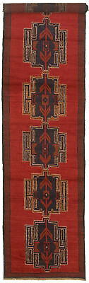 """Hand-knotted Carpet 2'7"""" x 12'9"""" Traditional Vintage Wool Rug"""