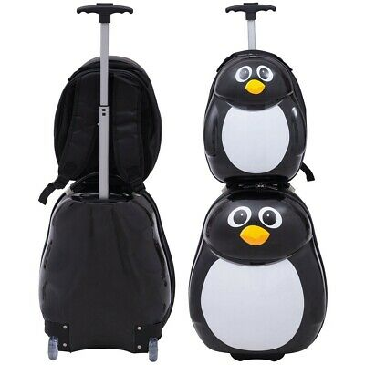 2 PCS Cute Penguin Kids Travel School Luggage Children Suitcase and Backpack New
