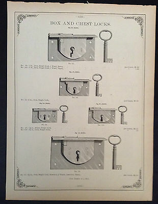 1888 Vintage Simmons Hardware Catalog Page ~ Brass and Iron Box & Chest Locks