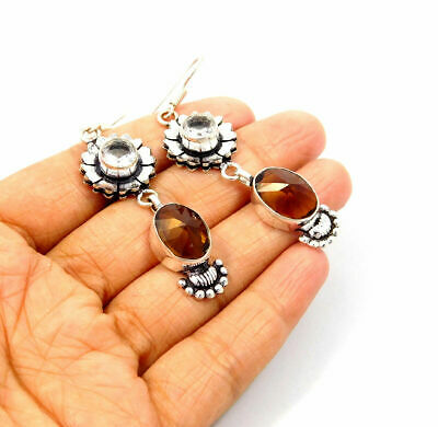 Fabulous Citrine & Crystal Quartz Silver Designer Earrings Jewelry JC9331