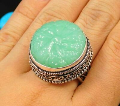 Charming Chalcedony Silver Carving Jewelry Ring Size 8.50 JC1672