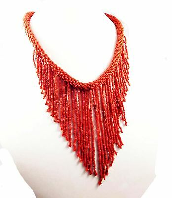 A++ Vintage Style Boho Treated Coral Beads Thread Necklaces Jewelry W12 (22)