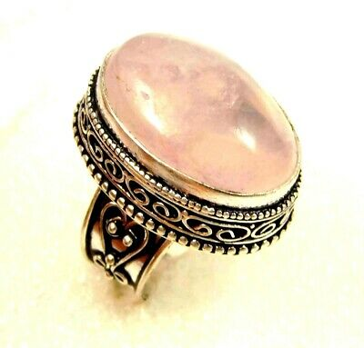Charming Rose Quartz Silver Carving Jewelry Ring Size 7.50 JC4613