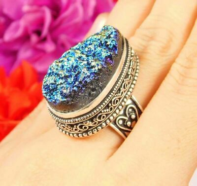 Lovely Rainbow Druzy Silver Hand Carving Jewelry Ring Size 7.75 JC3063