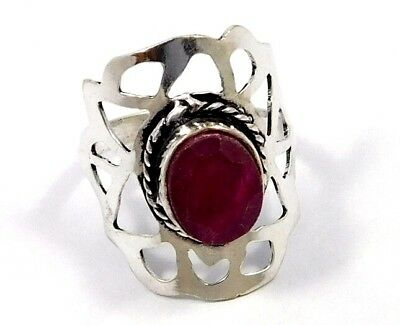 Dyed Ruby .925 Silver Awesome Ring Jewelry Ring Size 7.75 JC7986
