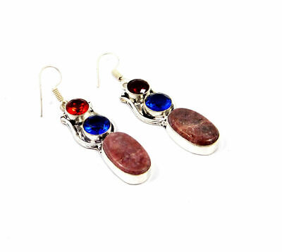 Fabulous Lapidolite & Citrine Quartz Silver Designer Earrings Jewelry JC9327